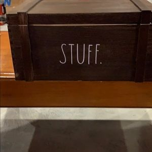 Rae Dunn stuff crate dark wood.